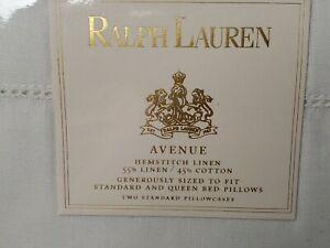 NEW Pair Standard / Queen Pillowcases RALPH LAUREN AVENUE Hemstitch Cream LINEN