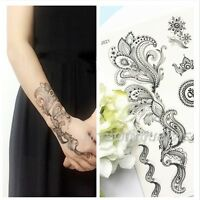 Black Lace Elephant Dandelion Henna Tattoo Temporary Tattoo Stickers Body Art