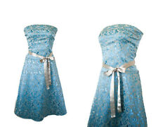 Marie Antoinette inspired Brocade Dress in French Blue Floral Print - Size 3/4