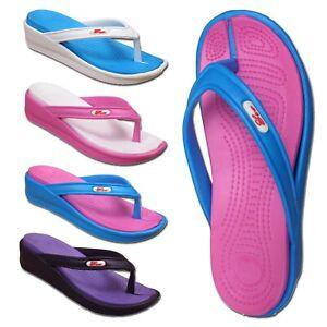 Ladies Toe Post Sandal Womens Summer Beach Wedge Flip Flops Size UK 3 4 5 6 7 8