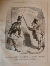 """7x10"""" PUNCH cartoon 1856 IMPUDENT ATTEMPTS TO GAROTTE A GENTLEMAN OF THE PRESS"""