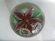 B. Sillars Crystal Cased Lily & Butterfly Orient & Flume Paperweight 1986 LE