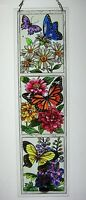 "AMIA STAINED GLASS 4.5"" X 16"" BUTTERFLY GARDEN WINDOW PANEL   #5286"