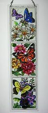 """AMIA STAINED GLASS 4.5"""" X 16"""" BUTTERFLY GARDEN WINDOW PANEL   #5286"""