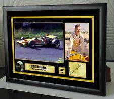 """Bruce McLaren Lienzo Enmarcado F1 alemán 1969 impresión firmada """"Gran Regalo O Recuerdo"""""""