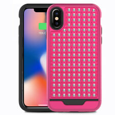 Glittering Star Studded Case Shockproof Cover + Tempered Glass for iPhone X / XS