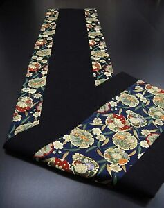 Kimono Table runner Japanese Gold brocade fabric Obi Reversible Aoi Hollyhock