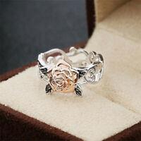 NEW Fashion Rose Gold plated Flower Silver Ring Women Boho Retro Wedding Jewelry