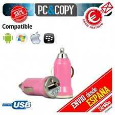 Pack 10 cargadores mechero coche USB 1A  moviles tablet rosa car 12-24v 1000mA
