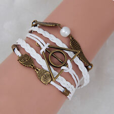 Harry Potter Deathly Hallows Snitch Owl White Synthetic Leather Bracelet Hot2016