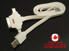 1m Long 3 in1 USB Data & Charger Cable for Android Samsung Galaxy Apple iPhone