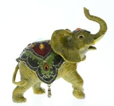 Jeweled Brown Elephant with Saddle Ciel Collectible Hinged Trinket Box