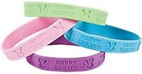 Pack of 12 - Rubber Happy Easter Bunny Bracelets - Great Party Loot Bag Fillers