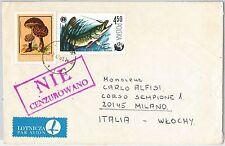 56798 - MUSHROOMS Fish - POLAND -  Postal History:  COVER to ITALY 1961