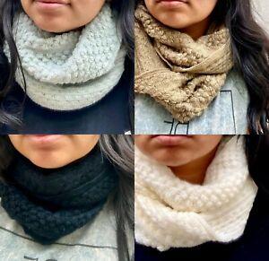 2 Unisex Women Men Soft Knitted Winter Warm Wrap Circle Loop Infinity Scarf