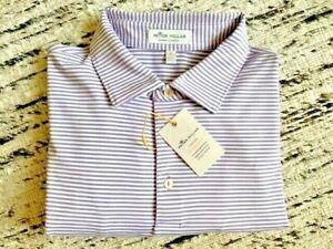 Peter Millar Summer Comfort Men L Crown Sport Stretch Striped Polo Shirt Golf