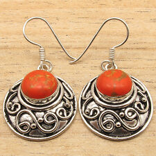 Free Shipping on Additional Items! Silver Plated Orange Copper Turquoise Earring