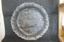Vintage Christmas All Clear Glass Winter Scene Large Bowl