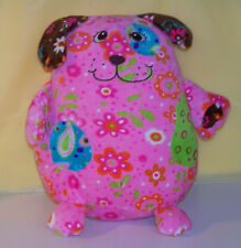 "MARY MEYER Green Pink THE FLOWER PIZZAZZ PRINT PUPPY 12"" plush stuffed Toy"