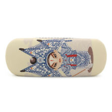Beige Opera Character Printing Glasses Case Hard Faux Leather Storage Box HOT