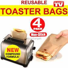 4 x Reusable Toaster Bag Non Stick Toastie Sandwich Toast Bags Pockets Toasty