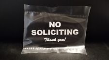 Laser Engraved No Soliciting Romark style Plastic Sign | Adhesive Strip on Back