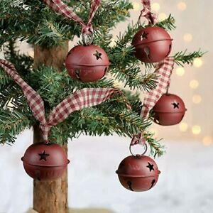 New Primitive Country Rustic BURGUNDY HOMESPUN BELL GARLAND Swag 4 ft