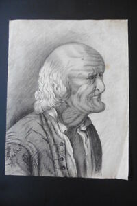 FRENCH SCHOOL 18thC - THE TOOTLESS MAN - CURIOUS PORTRAIT DRAWING - CHARCOAL
