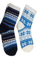 Cabin Socks adult  One Size Fits Most   Thick Aloe Infused 2 pair pack  Blue