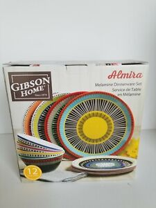 Gibson Home 107282.12 Almira 12 Piece Melamine Dinnerware Set - Multicolored