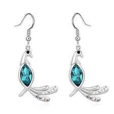 Silver Plated Bright Ink Blue Peacock Crystal Drop Dangle Stylish Earrings E918