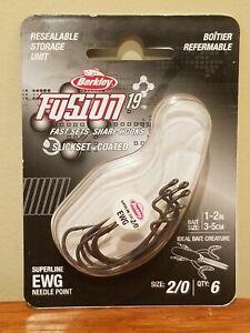 Berkley Fusion 19 Superline EWG Needle Point 2/0 Fishing Hook 6-Pack #1362179