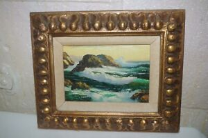 Vintage Signed R. Cristi Small Painting Ornate Frame