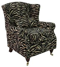 Ashley Fireside High Back Wing Armchair Animal Print Antelope Gold Velour Fabric