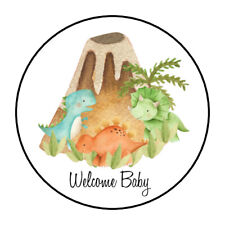 """30 1.5"""" DINOSAUR WELCOME BABY BABY SHOWER FAVOR LABELS ROUND STICKERS***"""