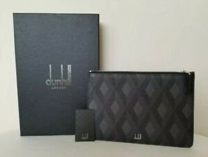 Dunhill Grey Cadogan Leather  Pouch  -  NEW