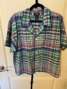 Polo Ralph Lauren Men's Shirt Blue/Purple/Green Plaid Pajama Top, Size Medium