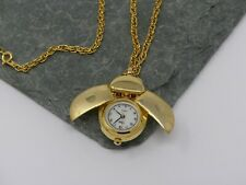 Vintage Ladybug Watch Necklace Gold Tone Rope Jewelry