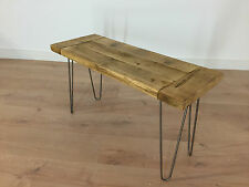 Rustic Solid Wood Farmhouse Bench Reclaimed Pine With Hairpin Legs Dining Plank Dark Oak 6 Feet