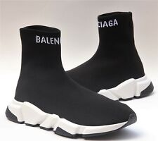 Auth Balenciaga Tall Speed Knit Sock Trainer Athletic Black White UK 8 - US 9
