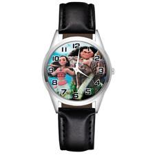 Princess Moana Maui Watch Leather Wristwatch Kids Girl Steel Black Silver