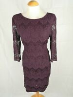 Ladies Dress Size 14 PEACOCKS Burgundy Lace Wiggle Party Evening Wedding
