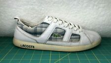 Lacoste Observe 3 LA White Blue Plaid Leather Shoes Sneakers~Men's Size 11