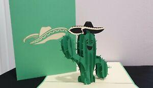 3D Pop Up Card -  Cactus Sombrero  (Birthday, Good luck, Holiday..)