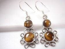 Tiger Eye Infinity Dangle Earrings 925 Sterling Silver Drop Corona Sun Jewelry