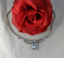 Vintage Aroura Borealis Blue Rhinestone Necklace Cat Rescue