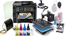 Epson Sublimation Printer Heat Press Bundle,CISS Kit,8-1 Heat Press, Papers+Ink
