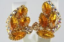 VTG OLD STORE STOCK JULIANA GOLD AMBER YELLOW RHINESTONE CLIP EARRINGS