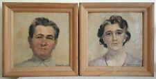 Paire tableaux huile / panneau portrait homme et femme Thérèse HENRY 1951 XXème