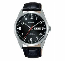 Pulsar Watch PJ6067X Black Leather Band and Dial Men's Watch 10 ATM RRP $140